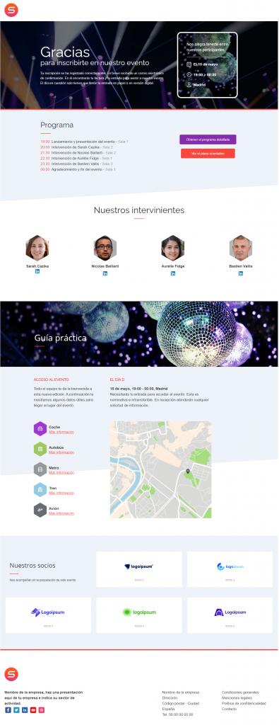smart templates inscripción a un evento